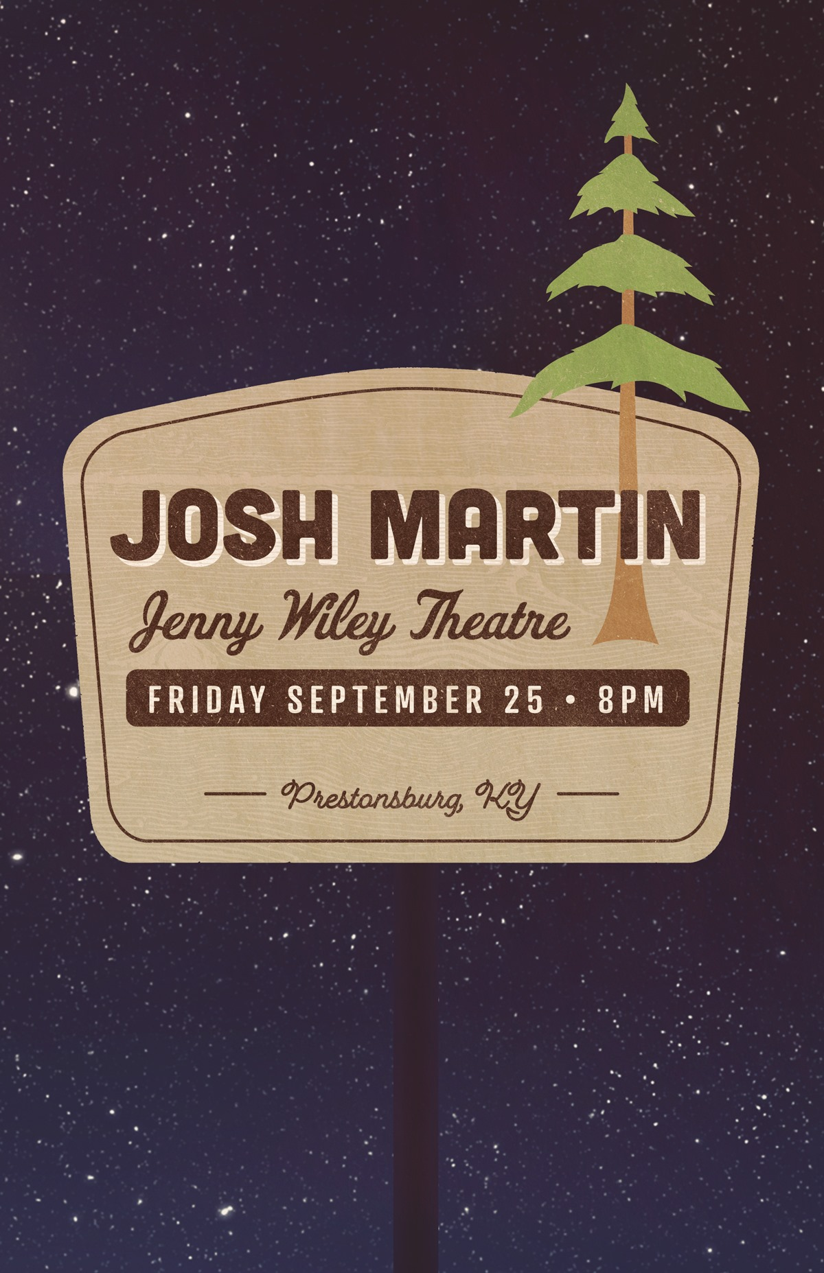 Josh Martin sign with trees and night sky